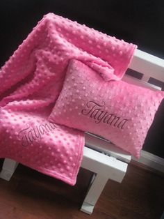 Soft Minky Chenille Personalized Baby Pillow & blanket $48.58