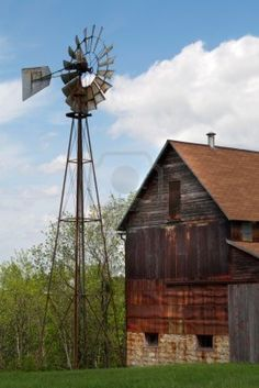 Abandoned barn and windmill.