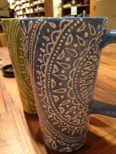 A Mehendi inspired design - Tall mugs painted with sponge technique and puffy paint