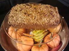 Basic pumpkin bread recipe with Special K vanilla pecan crumble and butterscotch chips.