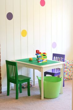 Designing Playspaces: Our Playroom from Fun at Home with Kids. Lego table.