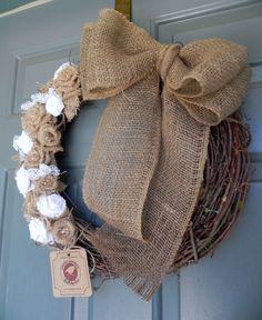 Burlap on Grapevine Wreath with Large Burlap Bow