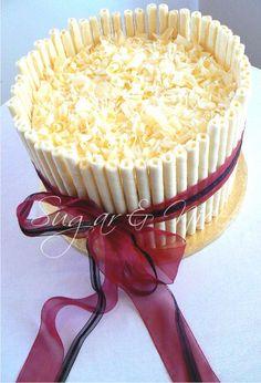 Melanie Wedding Cake  White Chocolate Cigar Cake with Ribbon detail