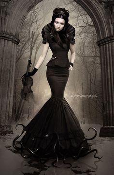 By Nathalia Suellen skirt, silhouett, goth style, photo manipulation, digital art, gown, couture dresses, black, gothic fashion