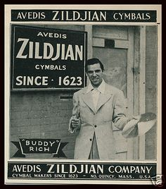 for the Drummers - great photo ad! 1941 AVEDIS ZILDJIAN Cymbals Buddy Rich Outside Factory Photo Trade Ad