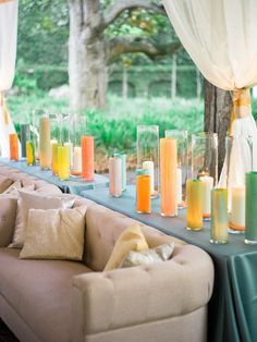 painted votive candles, photo by Virgil Bunao http://ruffledblog.com/william-aiken-house-wedding #weddingideas #receptionlounge