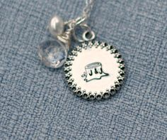 Mommy Necklace Framed Disc Hand Stamped by 3LittlePixiesShoppe, $49.00