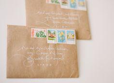 bees, letter, font, kraft paper, writing styles, white calligraphi, addressing envelopes, white ink, wedding invitation design