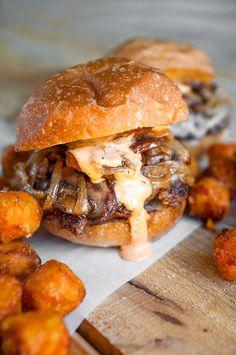 mushroom + onion burger
