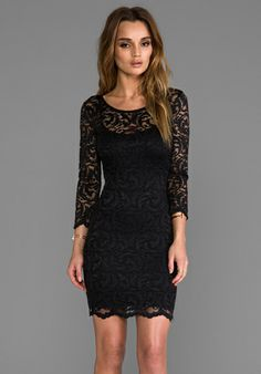 VELVET BY GRAHAM & SPENCER Elimina Stretch Lace Dress in Black - Dresses