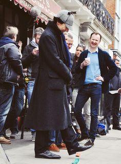 Sherlock Series 3 Today. Benedict Cumberbatch, Martin Freeman and Mark Gatiss :)