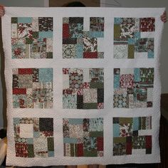 Figgy Pudding Disappearing Nine Patch,  love the sashing around each block