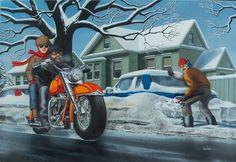 """Wine Country / 50's Style Biker"" - Originals - All Artwork - David Mann - Motorcycle Art   Fine Art World"
