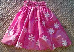 A girl's sweet pink hula pa'u hula skirt by SewMeHawaii on Etsy