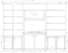 Simple line drawing for built-in bookcases and TV.  (Client: Terry Wheeler)  Center section is up on feet and bumps forward about three inches from the flanking bookcases--and also pops up six inches in height from the line of the flanking doors.  Existing, original art glass window sits roughly in the middle.  Height of center section is scaled perfectly so that top of TV is just blow the bottom piece of trim around the window.