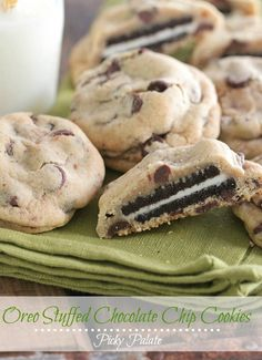 Oreo Stuffed Chocolate Chip Cookies. Made with butter, light brown sugar, sugar, eggs, vanilla, flour, salt, baking soda, chocolate chips, and oreo cookies.