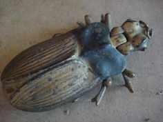 Antique Cast Iron Bradley & Hubbard Beetle bug match safe holder