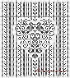 cuore-Parolin heart with birds. free cross stitch pattern / chart Monochrome