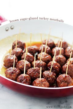 Brown Sugar-Glazed Turkey Meatballs - These Brown Sugar-Glazed Turkey Meatballs pack a bite-size punch of sweet and spicy, juicy and delicious.