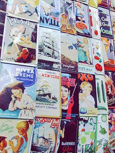Old adverts at Portobello Market - always great for decorating an old vintage room! xoxo Know London