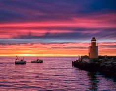 Departure sky, seas, lighthouses, sunsets, colors, wallpapers, pink, beach, boat
