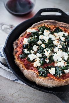 Mmm... try this spinach and feta cheese pizza with Sutter Home Red Moscato for a crowd pleaser!