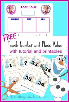 number recognit, place, printable homeschool, frozen school, math printabl, kid