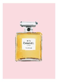 Coco Chanel No. 5 parfume bottle  - art poster print painting - gray or pink. $16.00, via Etsy.
