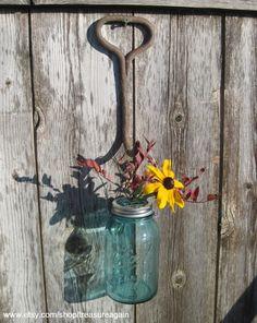 Hanging Mason Jar Hay Hook Flower Frog Vase & Rustic Light Upcycled by treasureagain@etsy