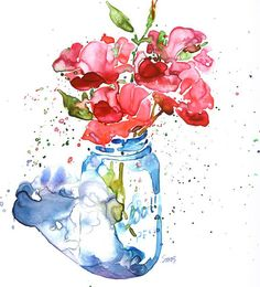 roses in Ball canning jar in the light by Suzanne Smith