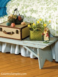 inspiration, benches, beds, paint bench, countri thing, countri live, country bedrooms, decor idea, countri sampler