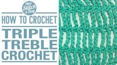 Crochet Tutorial: How to Crochet the Triple Treble Crochet. Click link to learn this stitch: http://newstitchaday.com/how-to-crochet-the-triple-treble-crochet/ #crochet #yarn
