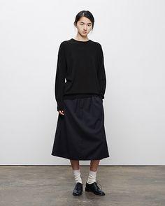 La Garçonne Moderne / Mariel Cashmere Crewneck, La Garçonne Moderne / Academie Skirt, Maria La Rosa / Mid-Calf Silk Socks, Rochas / Heeled Oxford #fw14