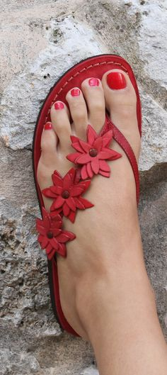 pink flowers, summer sandals, color, red flowers, red sandal, flipflop, flip flop, shoe
