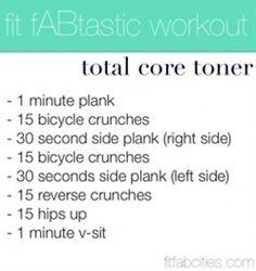 Core toning plan.  #fitness #gym #workout