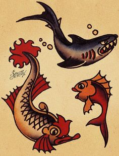 sailor jerry fish  flash tattoo flash sail...