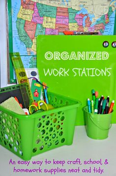DIY Back to School Homework Stations! Use these tips to help keep kids organized for homework. -- Tatertots and Jello