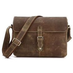 Image of Antique Handmade Vintage Genuine Crazy Horse Leather Messenger Bag Satchel Macbook/iPad Bag