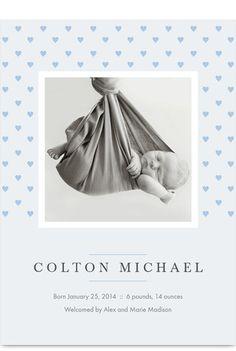 Blue Hearts Photo Birth Announcement