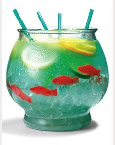 Fish Bowl Drink  1/2 c. NERDS candy, 1/2 gallon goldfish bowl. 5 oz Vodka, 5 oz Malibu Rum, 3 oz. blue curacao, 6 oz. sweet and sour mix, 16 oz. pineapple juice, sprite, fresh limes, lemons and orange. 4 sweedish gummy fish. sprinlkle nerds as gravel for bottom of bowl. Fill bowl with ice and all ingredients.