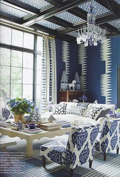 Living Room - blue and white, mixing pattern and pattern