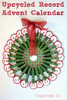 Upcycled Advent Calendar from a repurposed 45 record - Organized 31