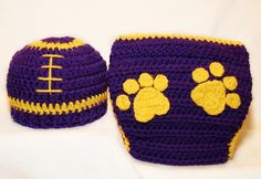 cover set, crochet baby hats, diapers, baby boys, lsu footbal, football season, diaper covers, geaux tigers, footbal hat