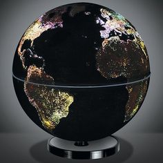 Love this globe, illuminated city lights <3