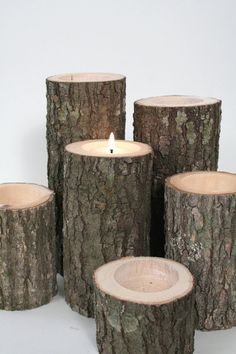 Tree Branch Candle Holders I- Rustic Wedding Centerpiece, Wood Candle Holders, Tree Slice, Woodland Candle Holders. $30.50, via Etsy.