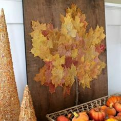 fall leaves, diy kid stuff, diy leafes for kids, happi thanksgiv, leaf craft, decoupage for kids, kids craft wall, kids autumn art, diy crafts for fall