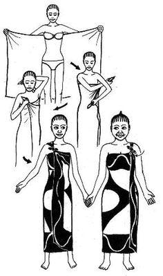 Pareos. Em um tecido fluido e leve, corte um retângulo de 1,15 m por 2 m. Faça uma dupla dobra nas bordas externas e costure. Envolvido em torno da cintura, ele vai fazer uma saia linda praia. Amarrada ao redor do pescoço, será um roupão muito feminina. Clássico revisitado: Passar a canga trás e voltar a placa para a frente da alça sob o braço, certificando-se de que um dos lados está mais perto do ombro do que o segundo. Passe este lado sobre o ombro e amarre as duas extremidades.
