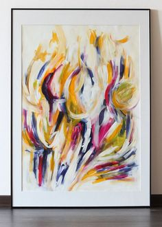 """Original abstract acrylic painting on paper """"Honey"""""""