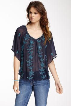 Lucky Brand Sardina Embroidered Floral Blouse