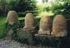 stone bee, beeskep, januska handcarv, stones, garden